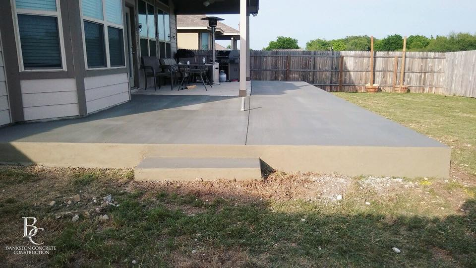 Concrete Patio Extension with Built in Step - Local Concrete Construction - Bankston Concrete Construction - San Antonio Texas