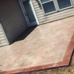 Stamped and Stained Concrete Backyard Patio Slab - Bankston Concrete Construction - San Antonio Texas