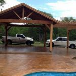 Stamped and Stained Concrete Pool Deck - Bankston Concrete Construction - San Antonio Texas