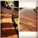 Stamped and Stained Concrete Walkway Sidewalk and Driveway - Bankston Concrete Contractor - San Antonio Texas